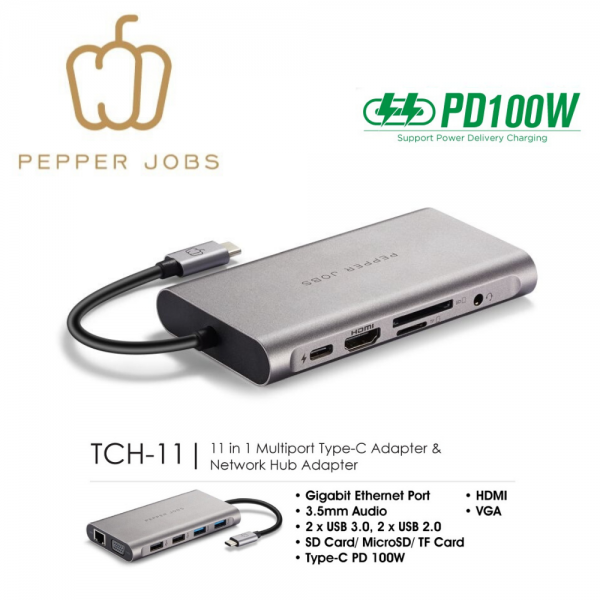 11-in-1 Multiport USB-C Adapter and Network HUB Adapter and PD